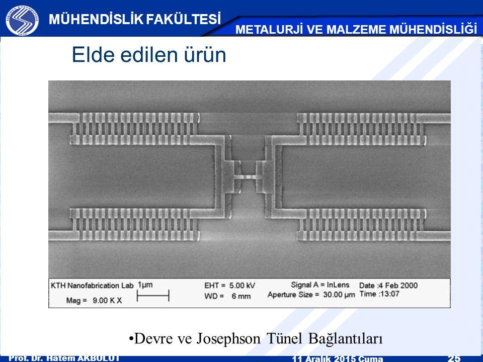 Prof. Dr. Hatem AKBULUT 11 Aralık 2015 Cuma 25 MÜHENDİSLİK FAKÜLTESİ METALURJİ VE MALZEME MÜHENDİSLİĞİ Devre ve Josephson Tünel Bağlantıları Elde edil