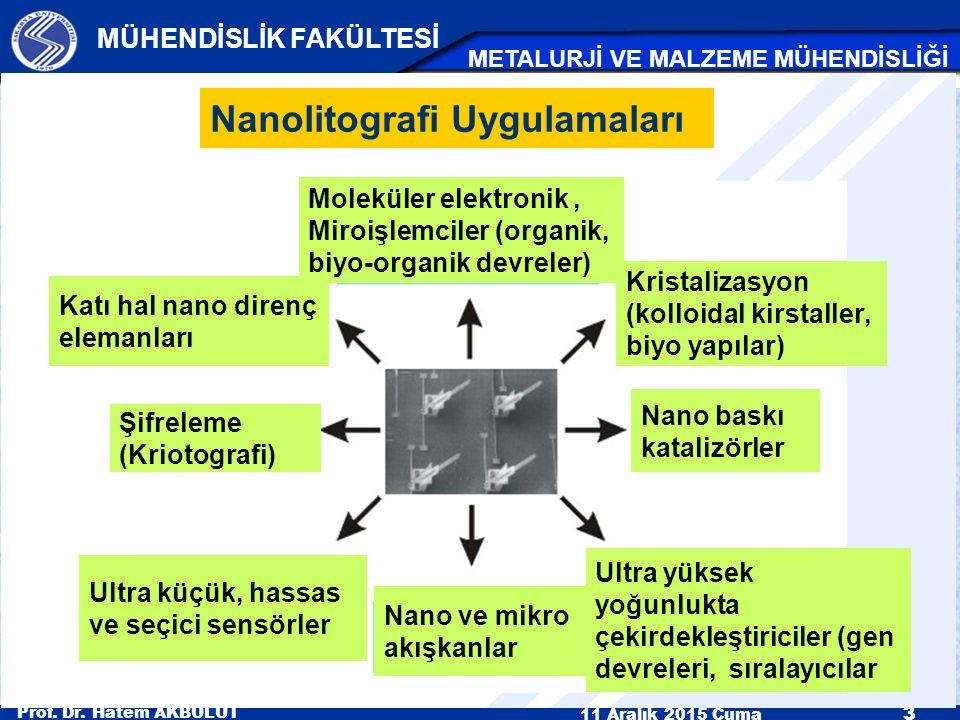 Prof. Dr. Hatem AKBULUT 11 Aralık 2015 Cuma 3 MÜHENDİSLİK FAKÜLTESİ METALURJİ VE MALZEME MÜHENDİSLİĞİ Nanolitografi Uygulamaları Moleküler elektronik,