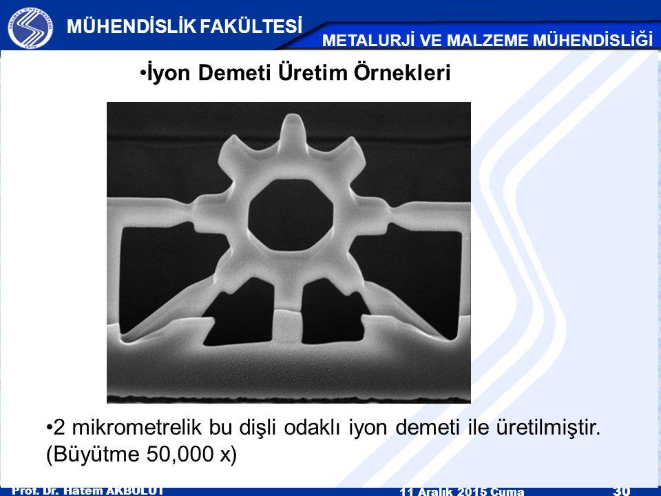 Prof. Dr. Hatem AKBULUT 11 Aralık 2015 Cuma 30 MÜHENDİSLİK FAKÜLTESİ METALURJİ VE MALZEME MÜHENDİSLİĞİ İyon Demeti Üretim Örnekleri 2 mikrometrelik bu