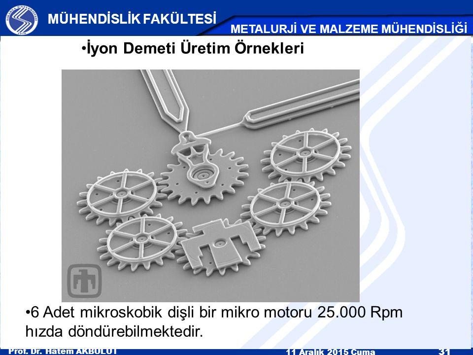 Prof. Dr. Hatem AKBULUT 11 Aralık 2015 Cuma 31 MÜHENDİSLİK FAKÜLTESİ METALURJİ VE MALZEME MÜHENDİSLİĞİ 6 Adet mikroskobik dişli bir mikro motoru 25.00