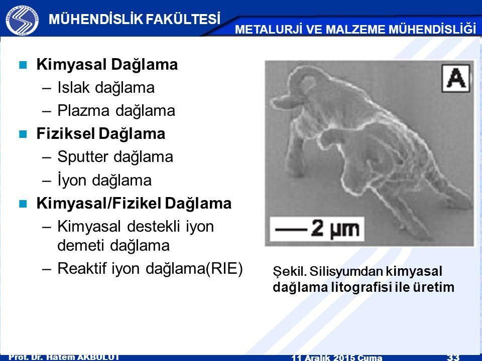 Prof. Dr. Hatem AKBULUT 11 Aralık 2015 Cuma 33 MÜHENDİSLİK FAKÜLTESİ METALURJİ VE MALZEME MÜHENDİSLİĞİ Kimyasal Dağlama –Islak dağlama –Plazma dağlama