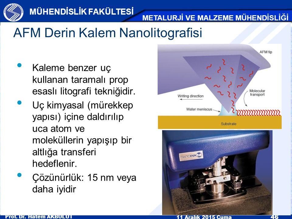 Prof. Dr. Hatem AKBULUT 11 Aralık 2015 Cuma 46 MÜHENDİSLİK FAKÜLTESİ METALURJİ VE MALZEME MÜHENDİSLİĞİ AFM Derin Kalem Nanolitografisi Kaleme benzer u