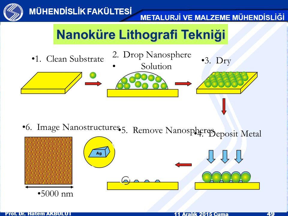 Prof. Dr. Hatem AKBULUT 11 Aralık 2015 Cuma 49 MÜHENDİSLİK FAKÜLTESİ METALURJİ VE MALZEME MÜHENDİSLİĞİ 1. Clean Substrate 2.Drop Nanosphere Solution 3