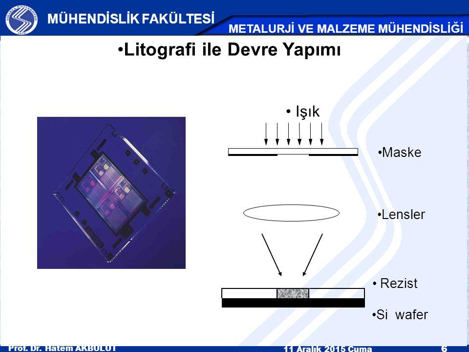 Prof. Dr. Hatem AKBULUT 11 Aralık 2015 Cuma 6 MÜHENDİSLİK FAKÜLTESİ METALURJİ VE MALZEME MÜHENDİSLİĞİ Litografi ile Devre Yapımı Işık Lensler Si wafer