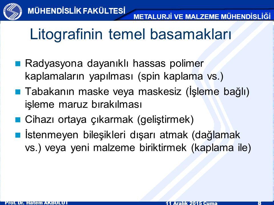 Prof. Dr. Hatem AKBULUT 11 Aralık 2015 Cuma 8 MÜHENDİSLİK FAKÜLTESİ METALURJİ VE MALZEME MÜHENDİSLİĞİ Litografinin temel basamakları Radyasyona dayanı