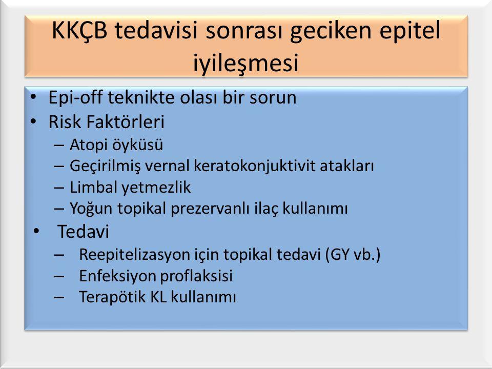 KKÇB tedavisi sonrası geciken epitel iyileşmesi Epi-off teknikte olası bir sorun Risk Faktörleri – Atopi öyküsü – Geçirilmiş vernal keratokonjuktivit atakları – Limbal yetmezlik – Yoğun topikal prezervanlı ilaç kullanımı Tedavi – Reepitelizasyon için topikal tedavi (GY vb.) – Enfeksiyon proflaksisi – Terapötik KL kullanımı Epi-off teknikte olası bir sorun Risk Faktörleri – Atopi öyküsü – Geçirilmiş vernal keratokonjuktivit atakları – Limbal yetmezlik – Yoğun topikal prezervanlı ilaç kullanımı Tedavi – Reepitelizasyon için topikal tedavi (GY vb.) – Enfeksiyon proflaksisi – Terapötik KL kullanımı