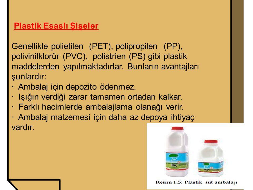 Plastik Esaslı Şişeler Genellikle polietilen (PET), polipropilen (PP), polivinilklorür (PVC), polistrien (PS) gibi plastik maddelerden yapılmaktadırla