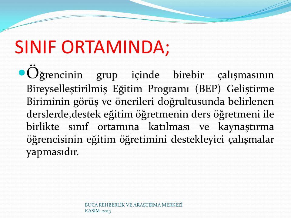 SINIF ORTAMINDA; Ö ğrencinin grup içinde birebir çalışmasının Bireyselleştirilmiş Eğitim Programı (BEP) Geliştirme Biriminin görüş ve önerileri doğrul
