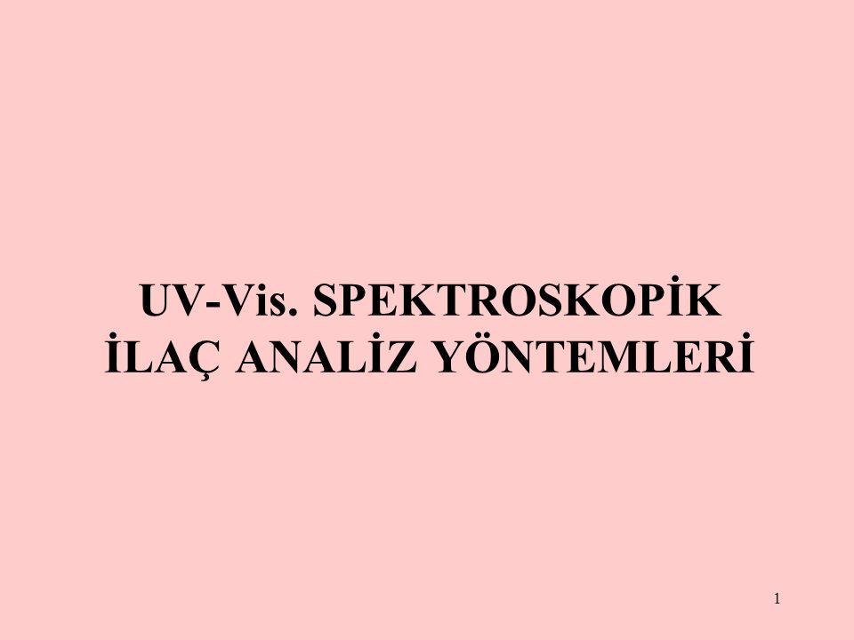 1 UV-Vis. SPEKTROSKOPİK İLAÇ ANALİZ YÖNTEMLERİ