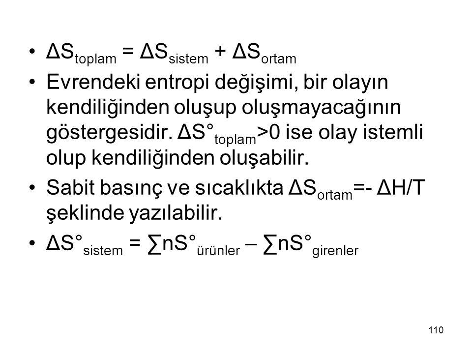 ΔS toplam = ΔS sistem + ΔS ortam Evrendeki entropi değişimi, bir olayın kendiliğinden oluşup oluşmayacağının göstergesidir. ΔS° toplam >0 ise olay ist