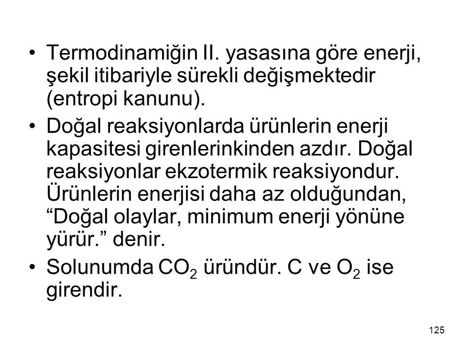 Termodinamiğin II. yasasına göre enerji, şekil itibariyle sürekli değişmektedir (entropi kanunu). Doğal reaksiyonlarda ürünlerin enerji kapasitesi gir