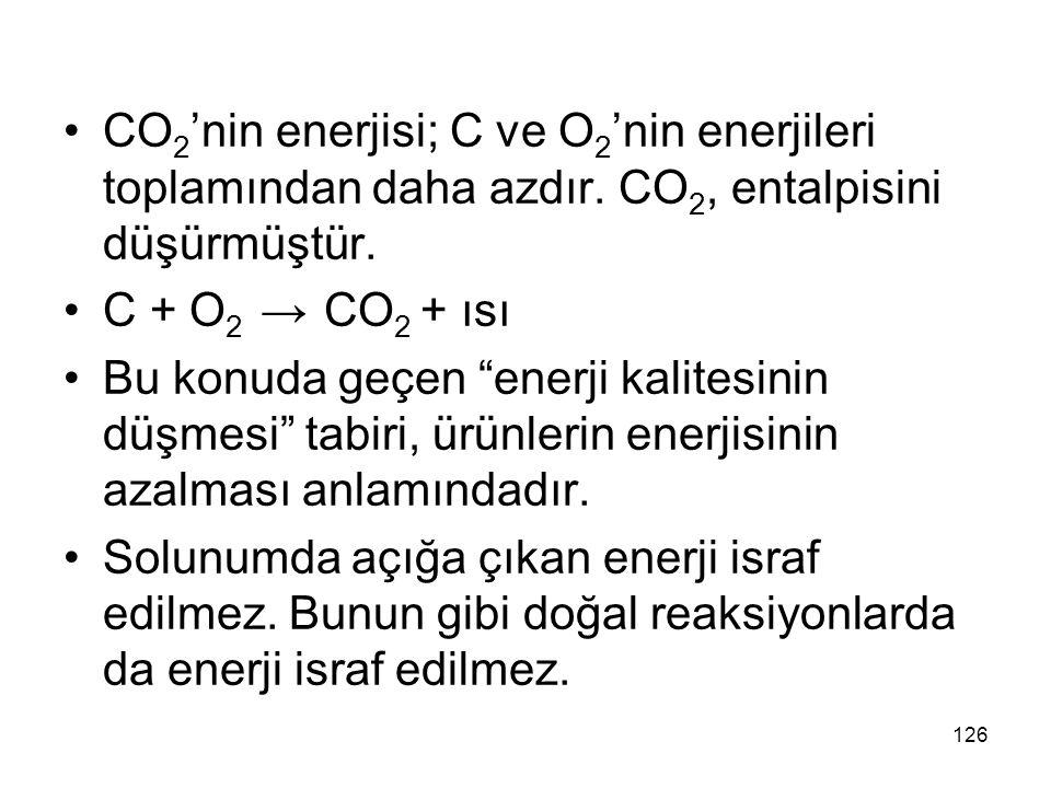 """CO 2 'nin enerjisi; C ve O 2 'nin enerjileri toplamından daha azdır. CO 2, entalpisini düşürmüştür. C + O 2 → CO 2 + ısı Bu konuda geçen """"enerji kalit"""