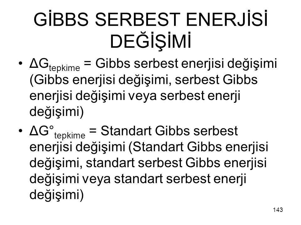 GİBBS SERBEST ENERJİSİ DEĞİŞİMİ ΔG tepkime = Gibbs serbest enerjisi değişimi (Gibbs enerjisi değişimi, serbest Gibbs enerjisi değişimi veya serbest en