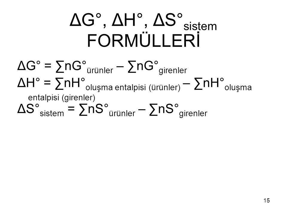 ΔG°, ΔH°, ΔS° sistem FORMÜLLERİ ΔG° = ∑nG° ürünler – ∑nG° girenler ΔH° = ∑nH° oluşma entalpisi (ürünler) – ∑nH° oluşma entalpisi (girenler) ΔS° sistem
