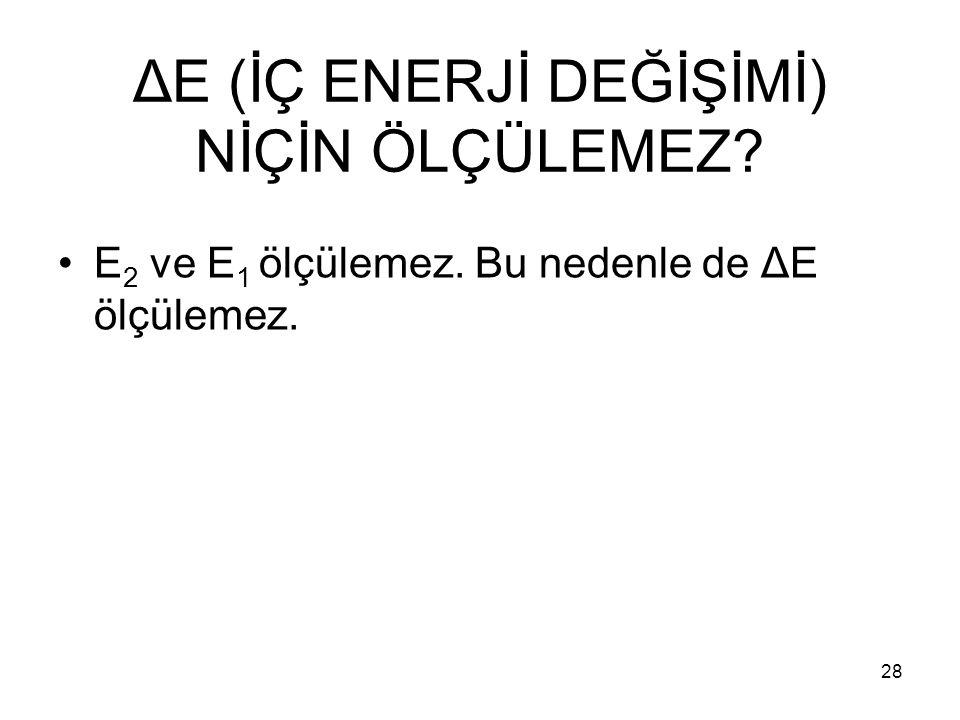 ΔE (İÇ ENERJİ DEĞİŞİMİ) NİÇİN ÖLÇÜLEMEZ? E 2 ve E 1 ölçülemez. Bu nedenle de ΔE ölçülemez. 28
