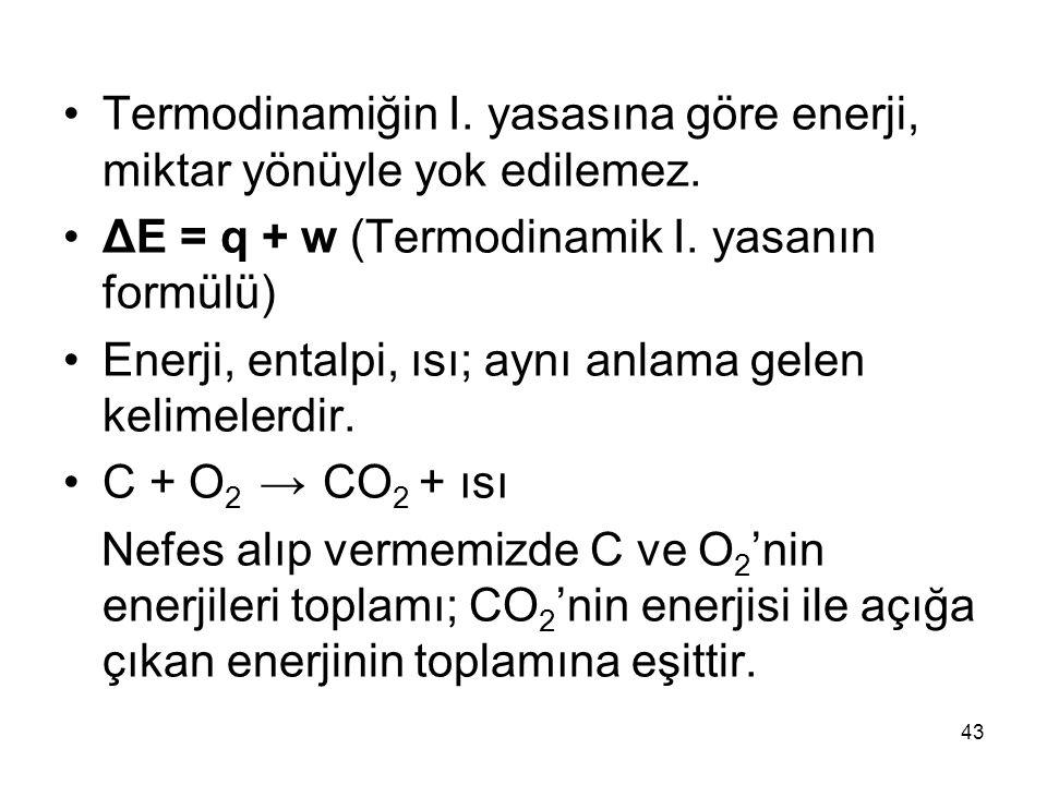 Termodinamiğin I. yasasına göre enerji, miktar yönüyle yok edilemez. ΔE = q + w (Termodinamik I. yasanın formülü) Enerji, entalpi, ısı; aynı anlama ge