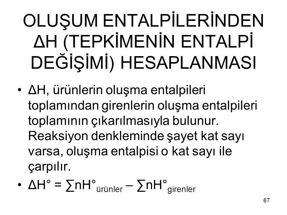 OLUŞUM ENTALPİLERİNDEN ΔH (TEPKİMENİN ENTALPİ DEĞİŞİMİ) HESAPLANMASI ΔH, ürünlerin oluşma entalpileri toplamından girenlerin oluşma entalpileri toplam