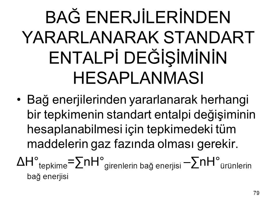 BAĞ ENERJİLERİNDEN YARARLANARAK STANDART ENTALPİ DEĞİŞİMİNİN HESAPLANMASI Bağ enerjilerinden yararlanarak herhangi bir tepkimenin standart entalpi değ
