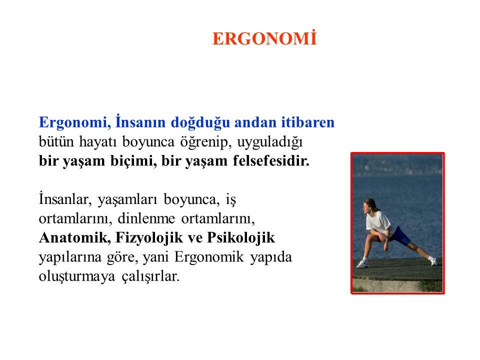 ERGONOMİ Ergonomi, İnsanın doğduğu andan itibaren bütün hayatı boyunca öğrenip, uyguladığı bir yaşam biçimi, bir yaşam felsefesidir. İnsanlar, yaşamla