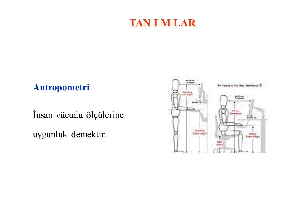 TAN I M LAR Antropometri İnsan vücudu ölçülerine uygunluk demektir.