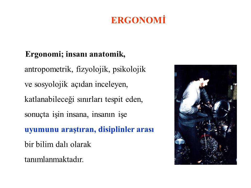 ERGONOMİ Ergonomi; insanı anatomik, antropometrik, fizyolojik, psikolojik ve sosyolojik açıdan inceleyen, katlanabileceği sınırları tespit eden, sonuç