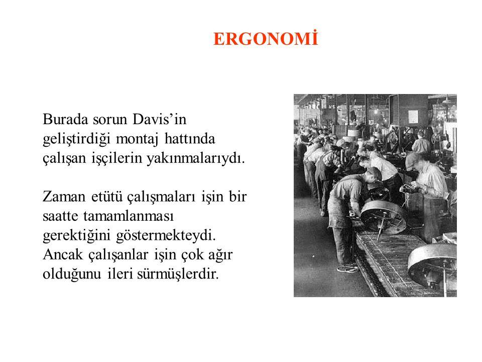 ERGONOMİ Burada sorun Davis'in geliştirdiği montaj hattında çalışan işçilerin yakınmalarıydı.