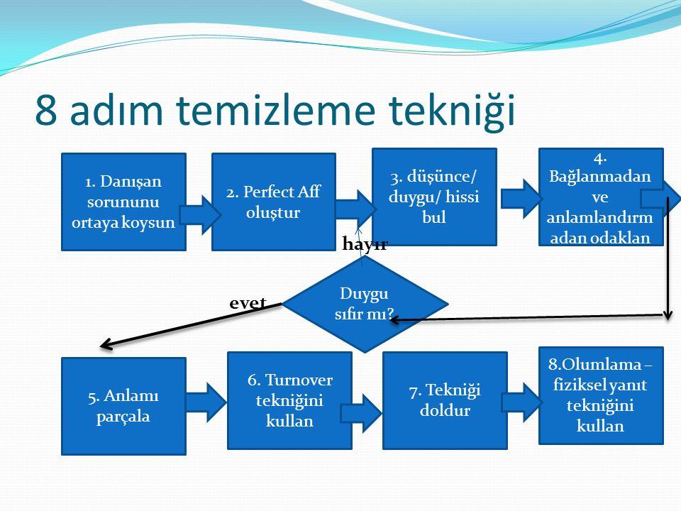 8 adım temizleme tekniği 1. Danışan sorununu ortaya koysun 2. Perfect Aff oluştur 3. düşünce/ duygu/ hissi bul 4. Bağlanmadan ve anlamlandırm adan oda
