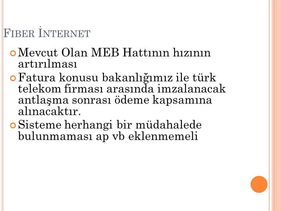 F IBER İ NTERNET Mevcut Olan MEB Hattının hızının artırılması Fatura konusu bakanlığımız ile türk telekom firması arasında imzalanacak antlaşma sonrası ödeme kapsamına alınacaktır.