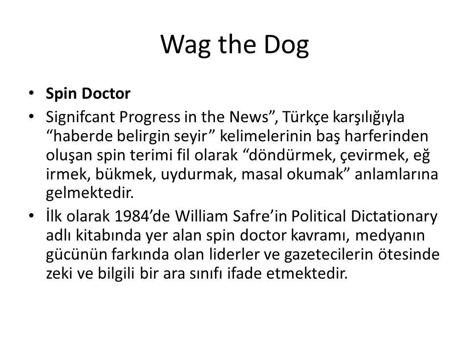 """Wag the Dog Spin Doctor Signifcant Progress in the News"""", Türkçe karşılığıyla """"haberde belirgin seyir"""" kelimelerinin baş harferinden oluşan spin terim"""