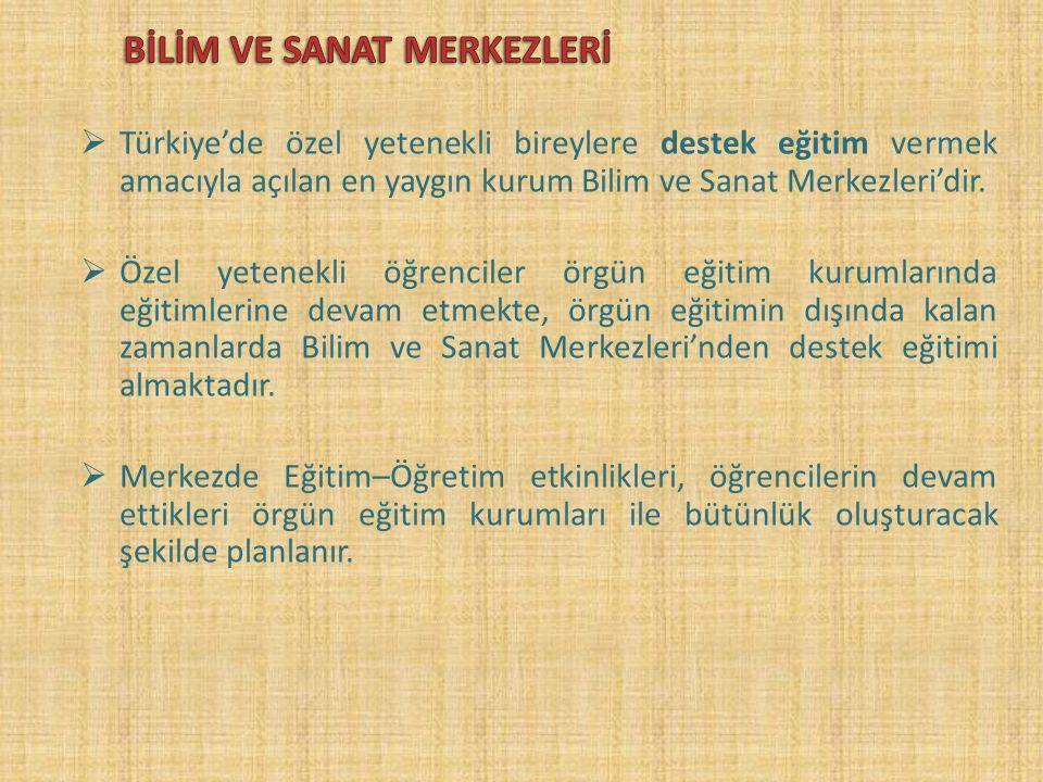  Türkiye'de özel yetenekli bireylere destek eğitim vermek amacıyla açılan en yaygın kurum Bilim ve Sanat Merkezleri'dir.
