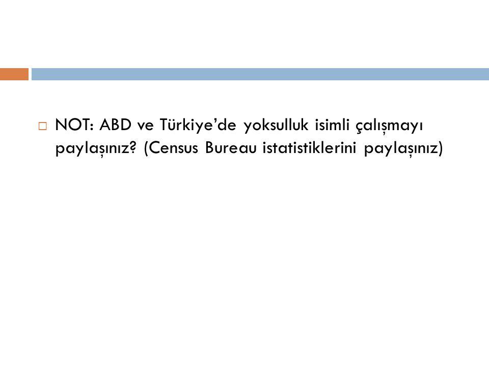  NOT: ABD ve Türkiye'de yoksulluk isimli çalışmayı paylaşınız? (Census Bureau istatistiklerini paylaşınız)