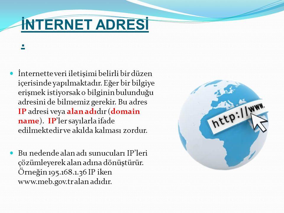 İnternette veri iletişimi belirli bir düzen içerisinde yapılmaktadır. Eğer bir bilgiye erişmek istiyorsak o bilginin bulunduğu adresini de bilmemiz ge