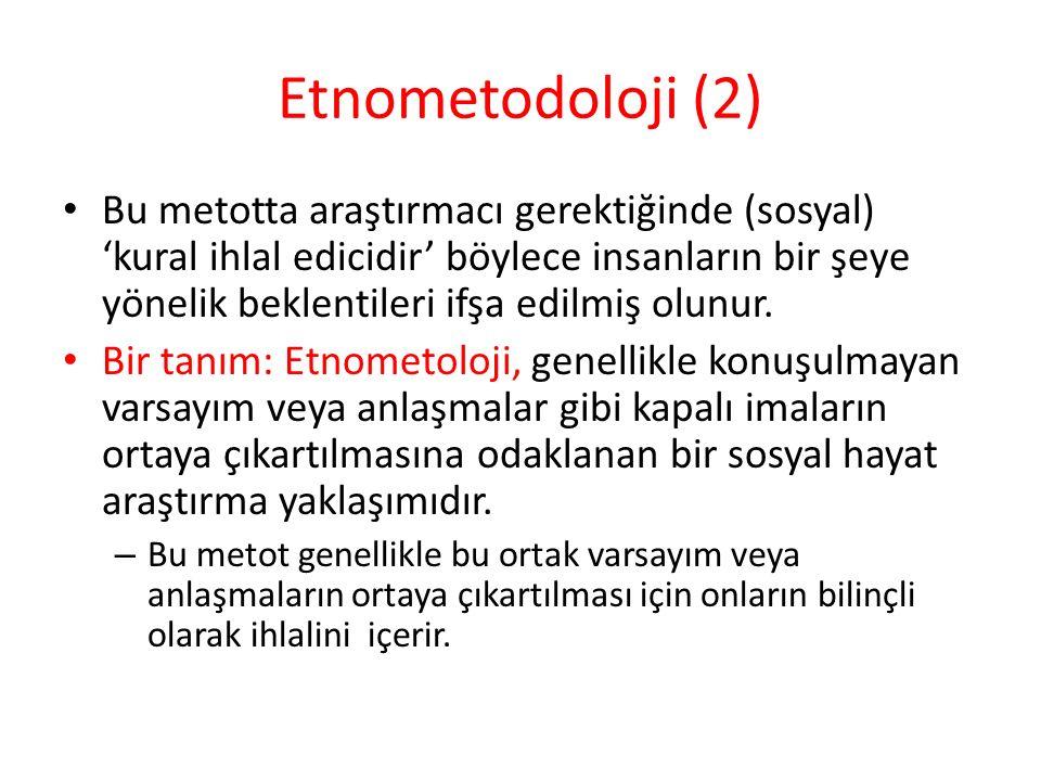 Etnometodoloji (2) Bu metotta araştırmacı gerektiğinde (sosyal) 'kural ihlal edicidir' böylece insanların bir şeye yönelik beklentileri ifşa edilmiş o