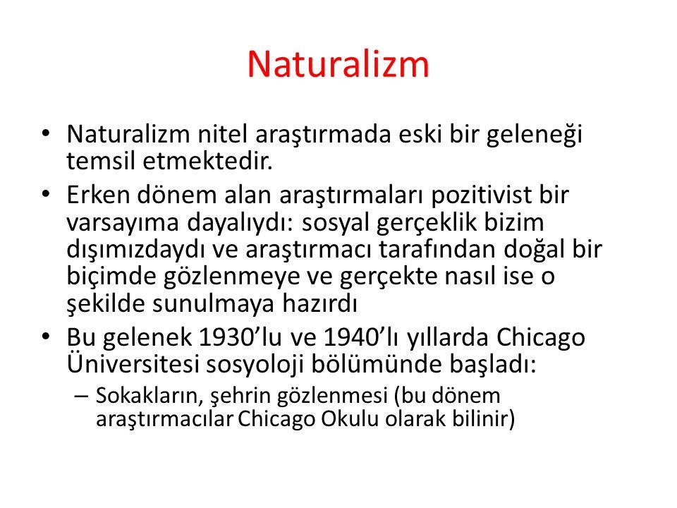 Naturalizm Naturalizm nitel araştırmada eski bir geleneği temsil etmektedir. Erken dönem alan araştırmaları pozitivist bir varsayıma dayalıydı: sosyal