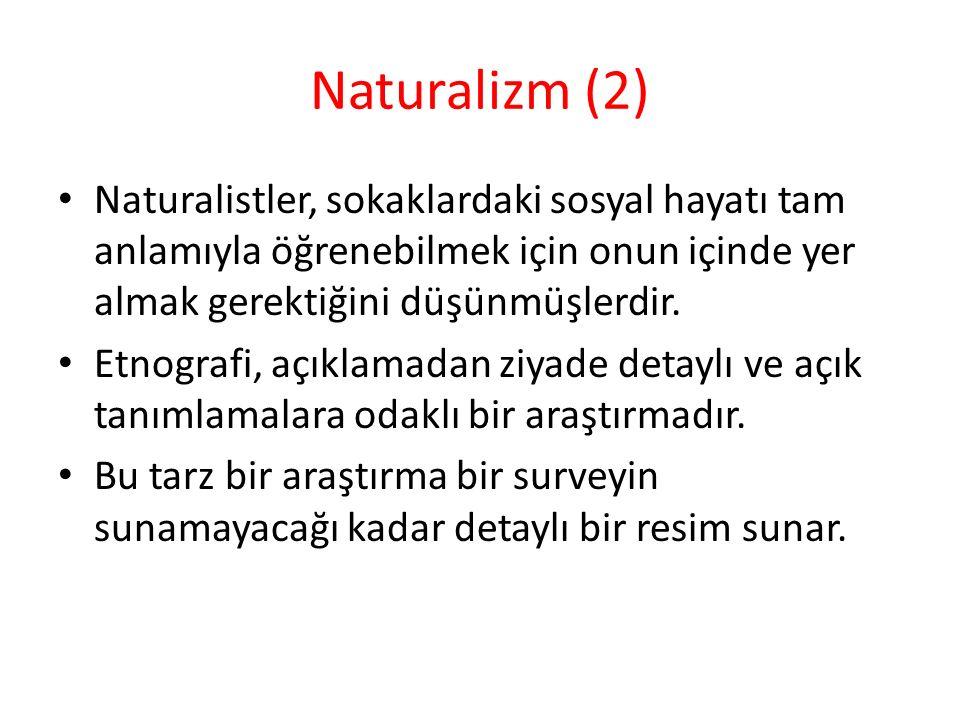 Naturalizm (2) Naturalistler, sokaklardaki sosyal hayatı tam anlamıyla öğrenebilmek için onun içinde yer almak gerektiğini düşünmüşlerdir. Etnografi,