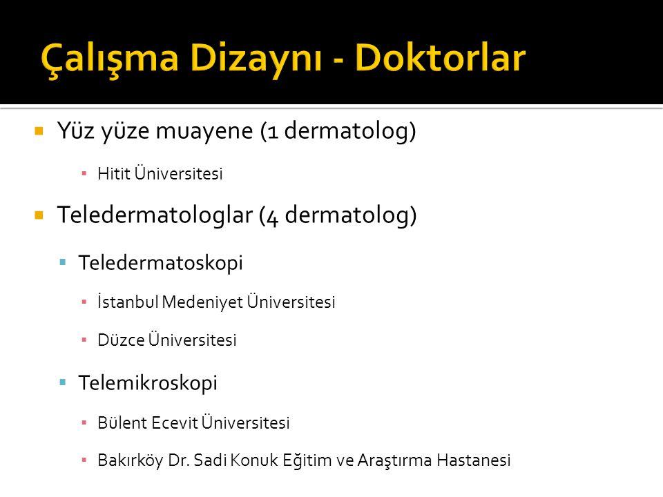  Yüz yüze muayene (1 dermatolog) ▪ Hitit Üniversitesi  Teledermatologlar (4 dermatolog)  Teledermatoskopi ▪ İstanbul Medeniyet Üniversitesi ▪ Düzce