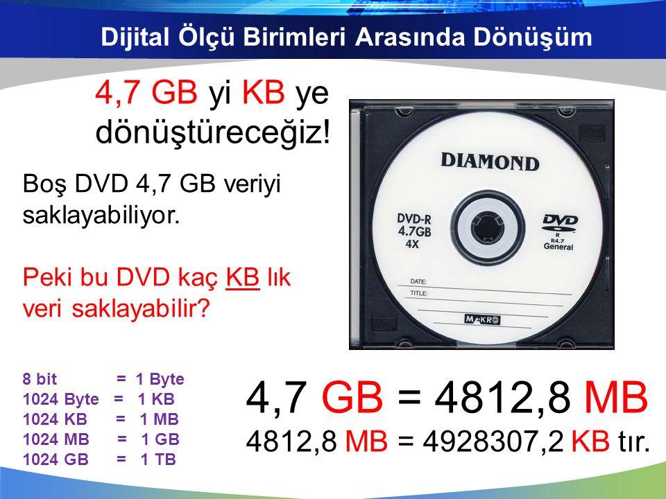 Dijital Ölçü Birimleri Arasında Dönüşüm Boş DVD 4,7 GB veriyi saklayabiliyor. Peki bu DVD kaç KB lık veri saklayabilir? 8 bit = 1 Byte 1024 Byte = 1 K