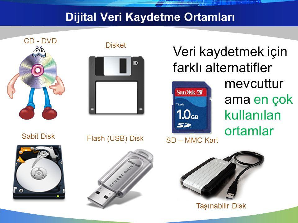 Dijital Veri Kaydetme Ortamları Veri kaydetmek için farklı alternatifler mevcuttur ama en çok kullanılan ortamlar CD - DVD SD – MMC Kart Taşınabilir D