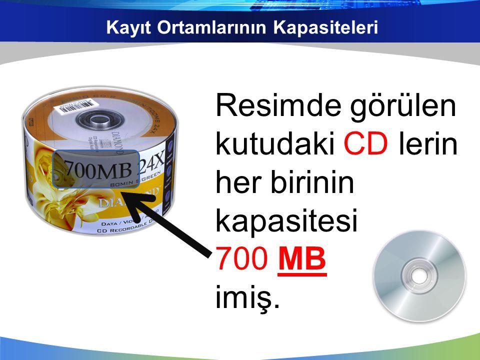 Kayıt Ortamlarının Kapasiteleri Resimde görülen kutudaki CD lerin her birinin kapasitesi 700 MB imiş.