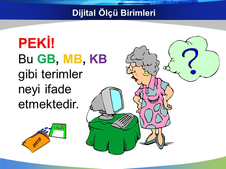 Dijital Ölçü Birimleri Nasıl ki uzunluk ölçüleri için metre, santimetre; ağırlık ölçüleri için gram, kilogram terimlerini kullanıyorsak Bilgisayar ortamındaki verilerimizin kapladıkları alan (boyut) içinde MB, KB gibi terimler kullanırız.