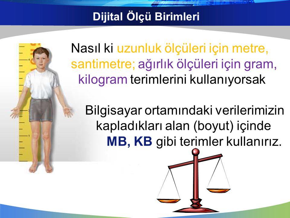 Dijital Ölçü Birimleri Bit Byte Kilo Byte (KB) Mega Byte (MB) Giga Byte (GB) Terra Byte (TB) Küçükten büyüğe doğru 8 bit = 1 Byte 1024 Byte = 1 KB 1024 KB = 1 MB 1024 MB = 1 GB 1024 GB = 1 TB