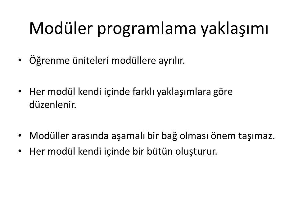 Modüler programlama yaklaşımı Öğrenme üniteleri modüllere ayrılır. Her modül kendi içinde farklı yaklaşımlara göre düzenlenir. Modüller arasında aşama