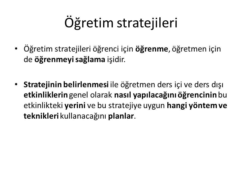 Öğretim stratejileri Öğretim stratejileri öğrenci için öğrenme, öğretmen için de öğrenmeyi sağlama işidir. Stratejinin belirlenmesi ile öğretmen ders