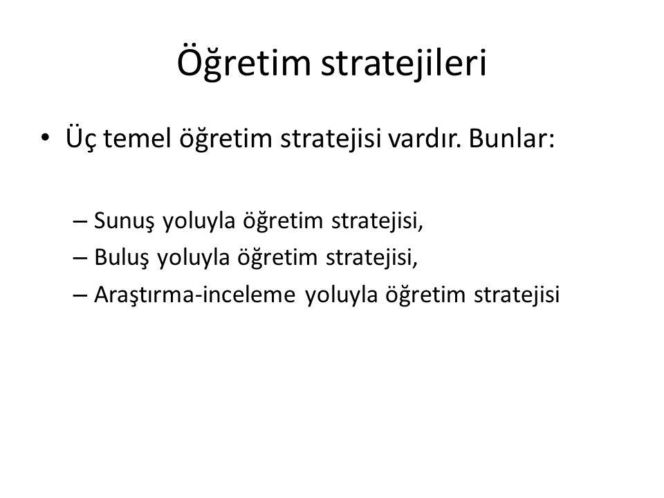 Öğretim stratejileri Üç temel öğretim stratejisi vardır. Bunlar: – Sunuş yoluyla öğretim stratejisi, – Buluş yoluyla öğretim stratejisi, – Araştırma-i