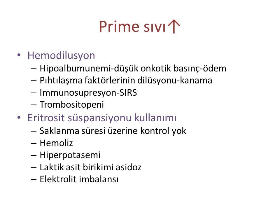 Prime sıvı↑ Hemodilusyon – Hipoalbumunemi-düşük onkotik basınç-ödem – Pıhtılaşma faktörlerinin dilüsyonu-kanama – Immunosupresyon-SIRS – Trombositopen