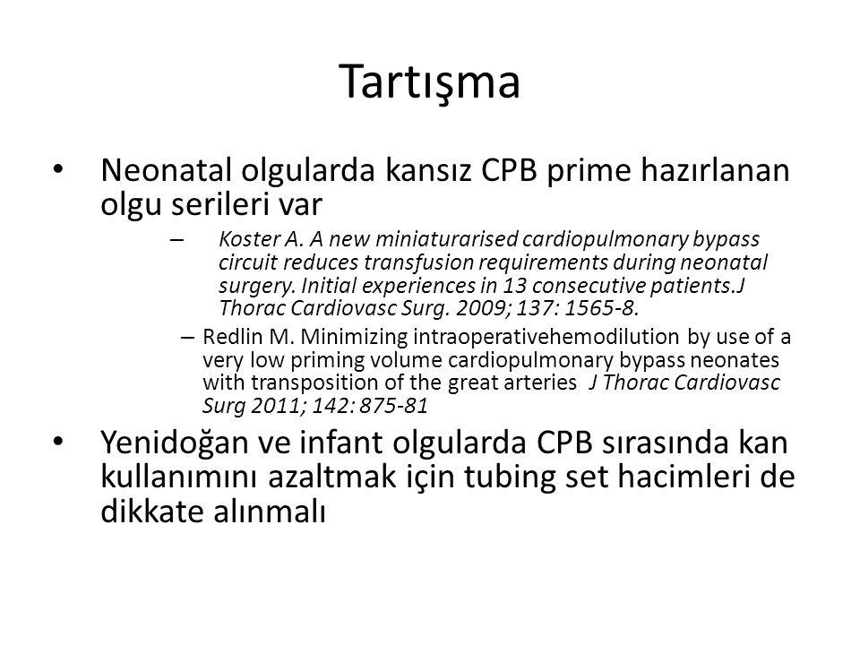 Tartışma Neonatal olgularda kansız CPB prime hazırlanan olgu serileri var – Koster A. A new miniaturarised cardiopulmonary bypass circuit reduces tran