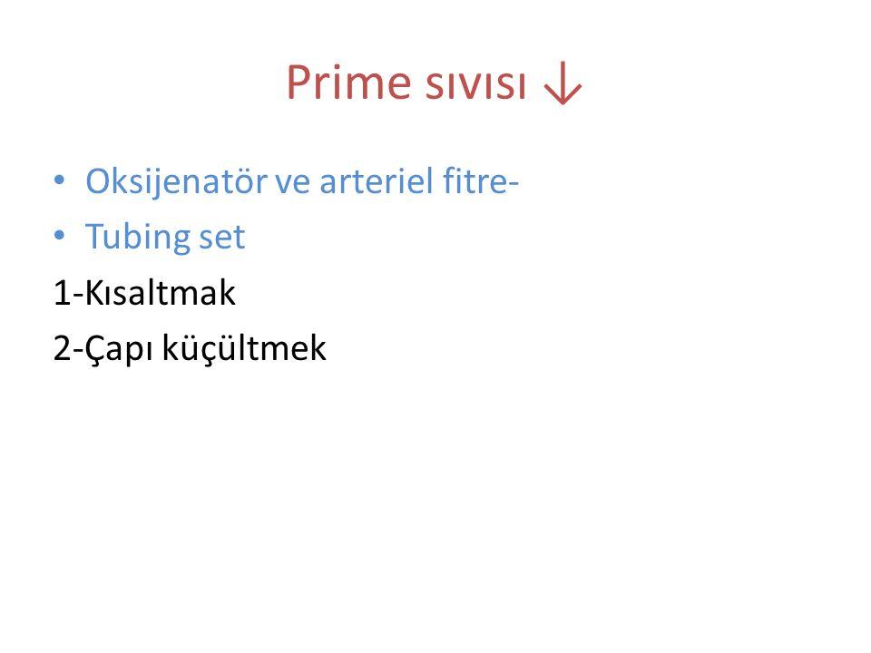 Prime sıvısı ↓ Oksijenatör ve arteriel fitre- Tubing set 1-Kısaltmak 2-Çapı küçültmek