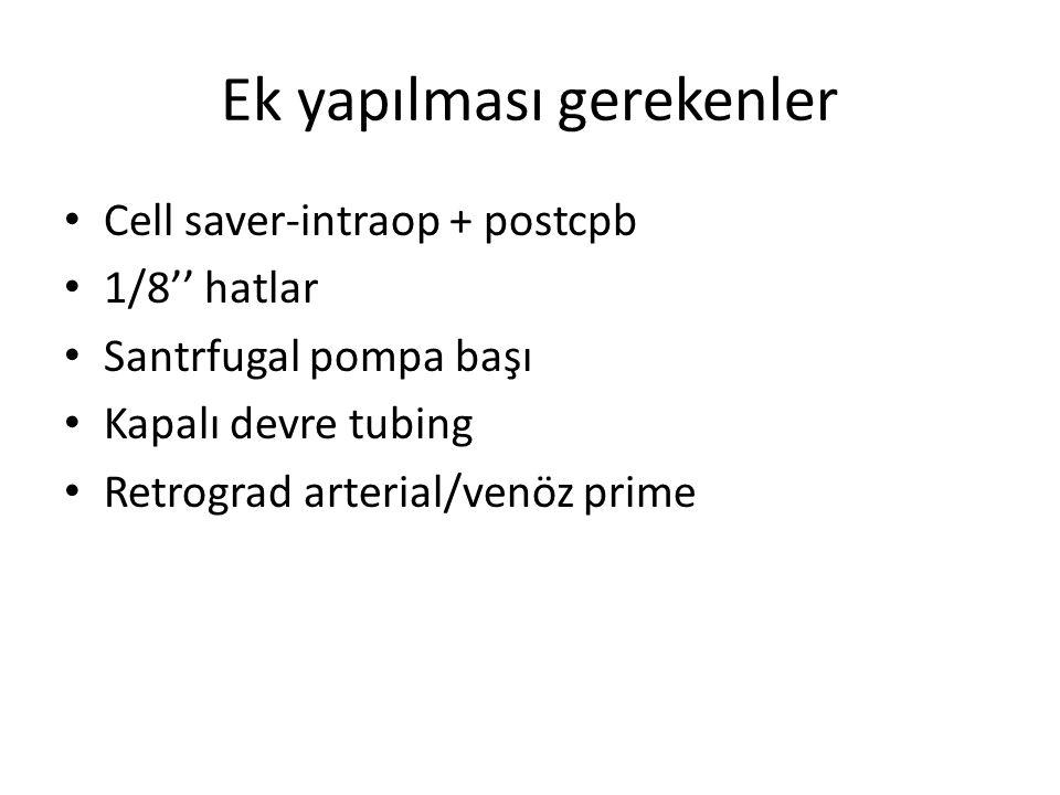 Ek yapılması gerekenler Cell saver-intraop + postcpb 1/8'' hatlar Santrfugal pompa başı Kapalı devre tubing Retrograd arterial/venöz prime