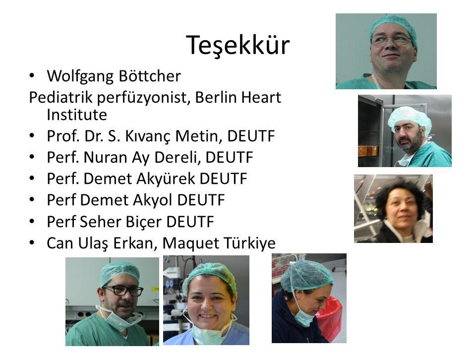 Teşekkür Wolfgang Böttcher Pediatrik perfüzyonist, Berlin Heart Institute Prof. Dr. S. Kıvanç Metin, DEUTF Perf. Nuran Ay Dereli, DEUTF Perf. Demet Ak