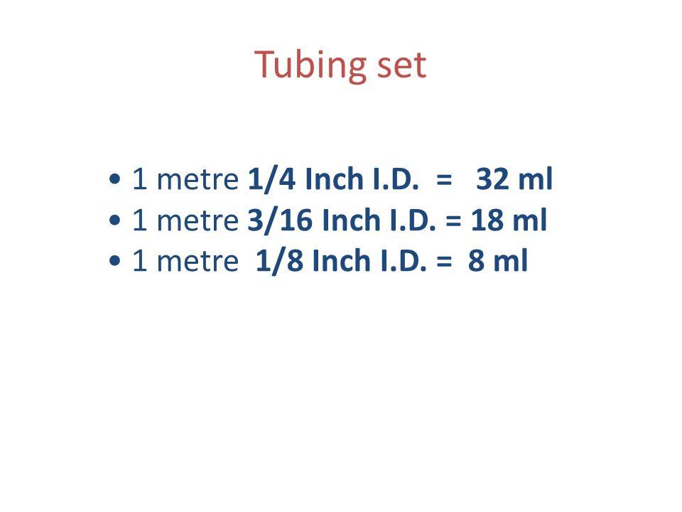Tubing set 1 metre 1/4 Inch I.D. = 32 ml 1 metre 3/16 Inch I.D. = 18 ml 1 metre 1/8 Inch I.D. = 8 ml